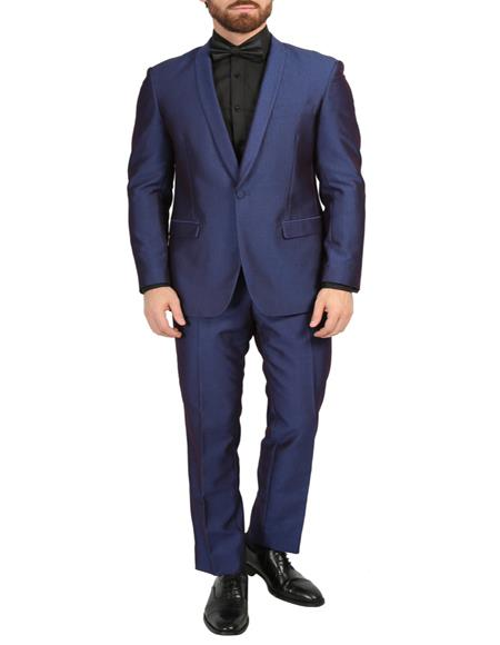 Mens Navy 3-Piece Slim Fit Shawl Tuxedo