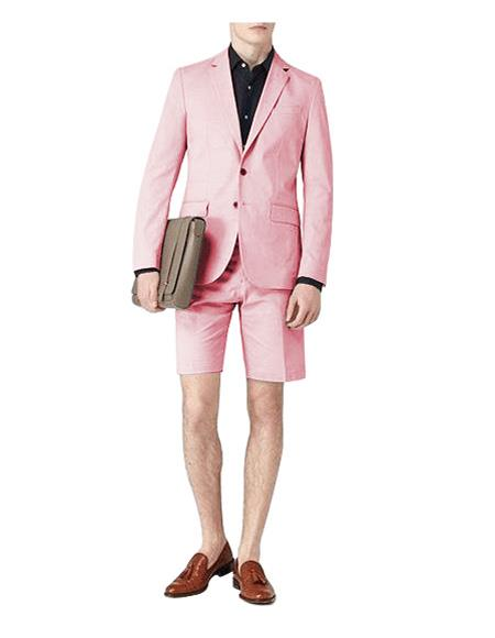 Mens Two Button Single Breasted Suit For Men Pink