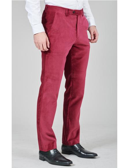 Mens Burgundy Flat Front Pant Velvet Fabric 100% Cotton