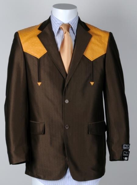 1950s Mens Suits & Sport Coats   50s Suits & Blazers Mens Western Cowboy Suit Traje Vaquero Polyester Suit Set Brown Mango $125.00 AT vintagedancer.com