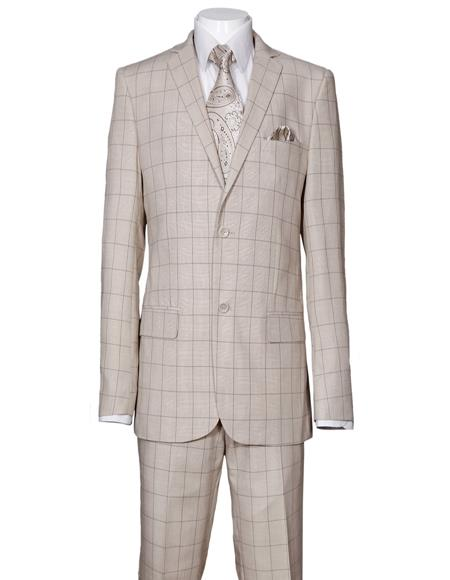 Men's Plaid Window Pane Pattern Suit Side Vent Regular Fit Tan Affordable - Discounted Priced On Clearance Sale