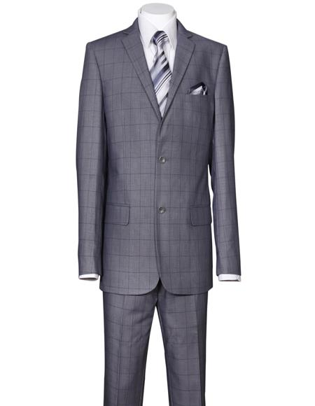 Mens Gray Window Pane Cheap Priced Business Suits