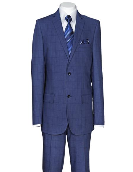 Men's Plaid Window Pane Pattern Cheap Priced Business Suits Clearance Sale Side Vent Regular Fit Dark Navy