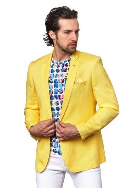 Mens  Yellow Linen Blazer Sport Coat