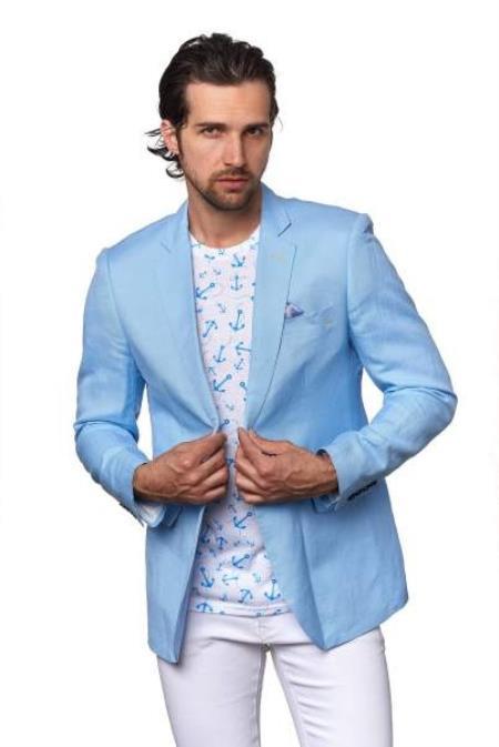 Men's Linen Blazer - Sky