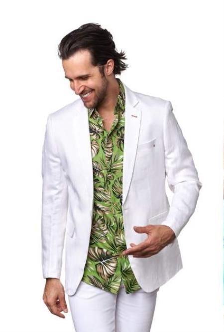 Men's Linen Blazer - White