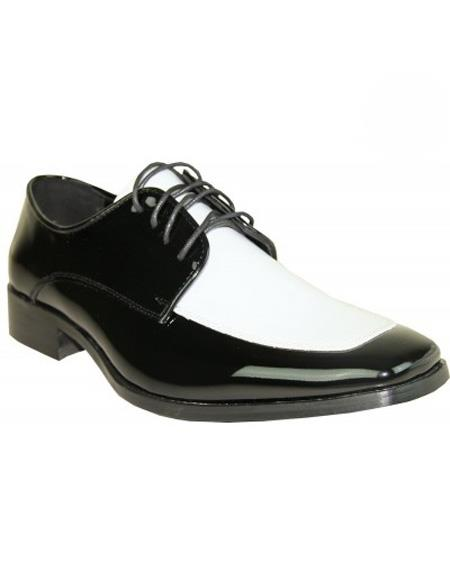 Men's 1950s Shoes Styles- Classics to Saddles to Rockabilly Mens White  Black Two-Tone Lace Up Shoe $75.00 AT vintagedancer.com