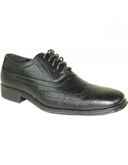 Men's Black Lace Up Wingtip Shoe