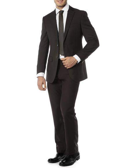 Men's  Notch Label Slim Fit Suit Black