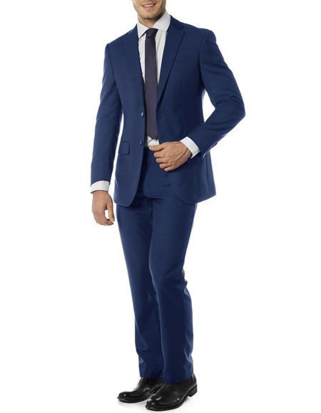Mens  Notch Label Slim Fit Suit Blue