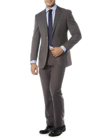 Men's  Notch Label Slim Fit Suit Charcoal