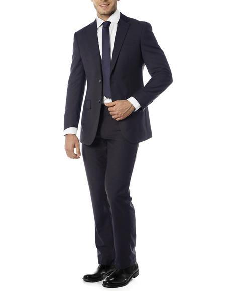 Mens Single Breasted Notch Label Slim Fit Suit Dark Navy