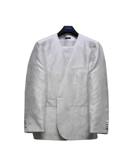 Mens No Collar Style Paisley Mettalic Shiny Suit White