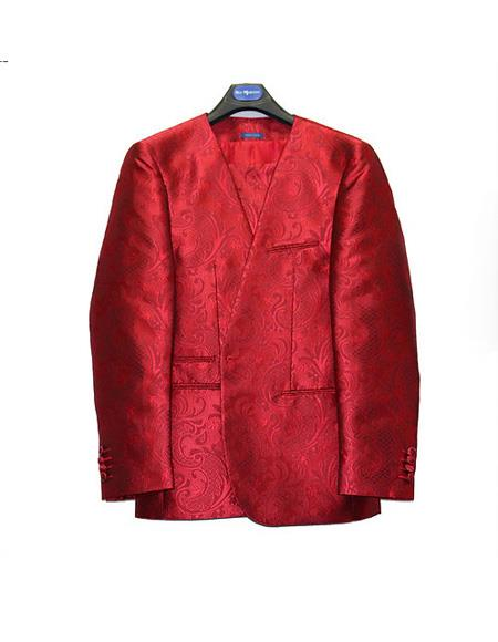 Mens No Collar Style Paisley Mettalic Shiny Suit Red
