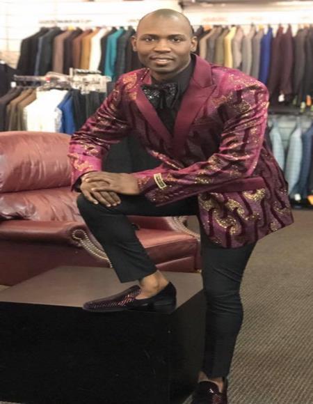 Mens Burgundy Peak Label Cheap Priced Designer Fashion Dress Casual Blazer On Sale One Chest Pocket Two Buttons Blazer