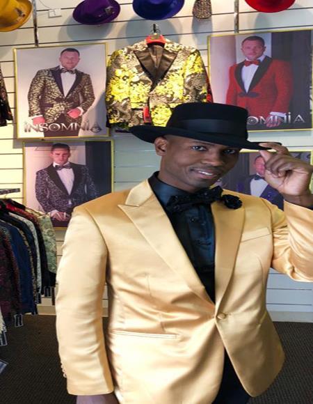 Mens Gold Peak Label Cheap Priced Designer Fashion Dress Casual Blazer On Sale Besom Two Pockets One Button Blazer