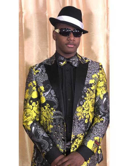 Yellow Gold Black and Grey Floral Satin Shiny Fashion Blazer Dinner Jacket Paisley Sport Coat Flashy Stage Fancy Party Prom + Free Matching bowtie