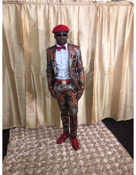 Mens Salmon Floral Pattern Button Closure Cheap Priced Designer Fashion Dress Casual Blazer On Sale Blazer