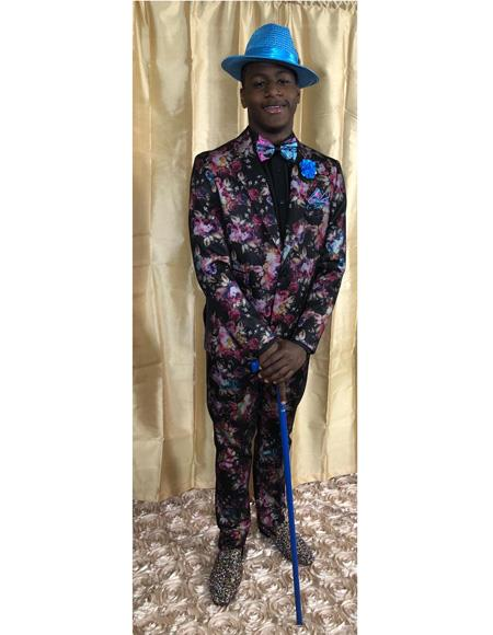 Men's Black Floral Pattern One Buttons One Chest Pocket Tuxedo
