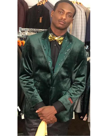 Mens Dark Green Cuff Link Button Closure Cheap Priced Designer Fashion Dress Casual Blazer On Sale Blazer