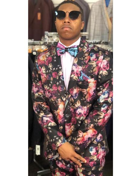 Pink and Red Floral Satin Shiny Fashion Blazer Dinner Jacket Paisley Sport Coat Flashy Stage Fancy Party Prom
