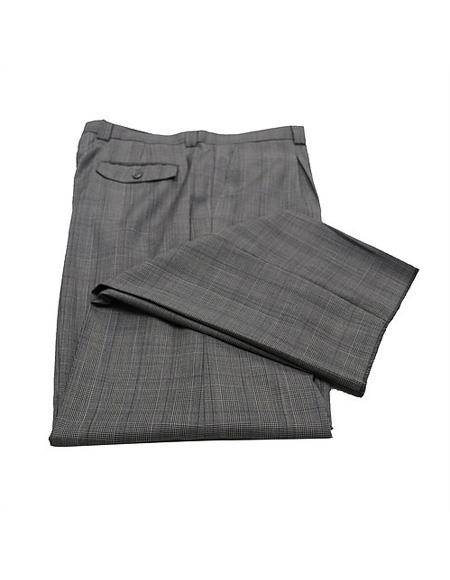 Mens Gray & Black Plaid Wide Leg Pants