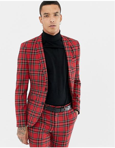 2 Buttons Red and Black Plaid Tartan Fabric Window Pane Mens Suit 2020 New Formal Style Under $159
