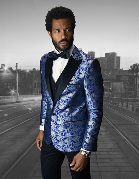 Single Breasted Peak Label Royal Blue ~ Indigo ~ Bright Blue Tuxedo Suit