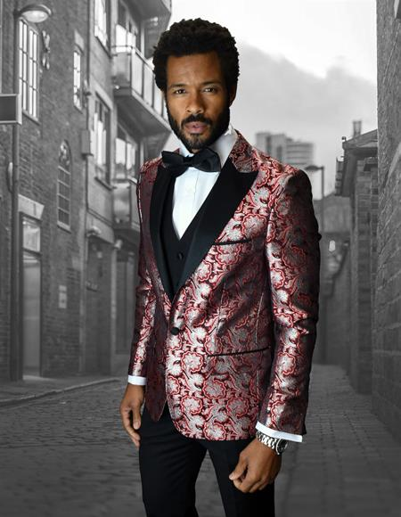 Single Breasted Peak Label Red ~ White Tuxedo Suit - Red Tuxedo