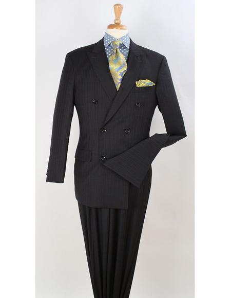 Men's Double Breasted Suits Men's Black Suit Peak Lapel