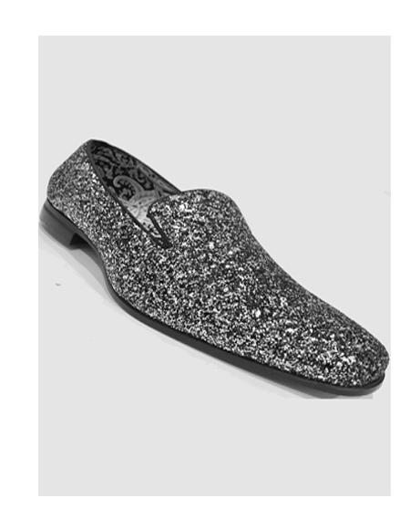Men's Silver Slip On Style Shoes