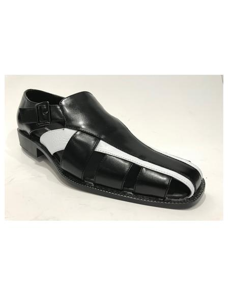 Mens Black/White Synthetic Closed Toe Dress Sandals