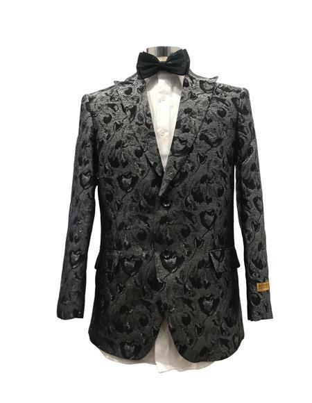 Men's Black Peak Lapel Two Button Suit
