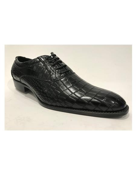 Men's Leather Horn Black Shoes