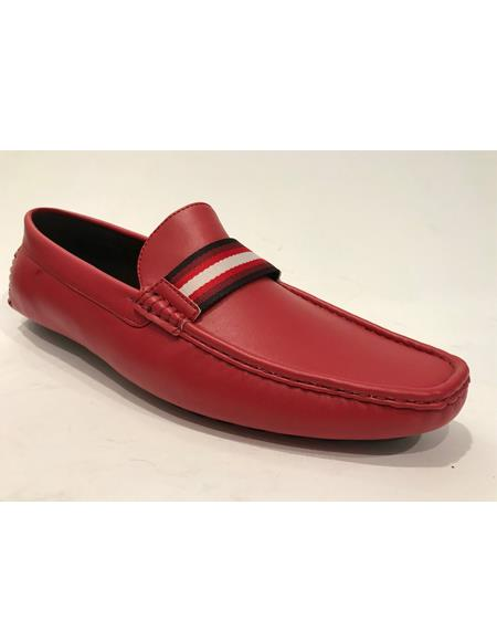 Mens Slip-On Style Red Shoes - Red Mens Prom Shoe