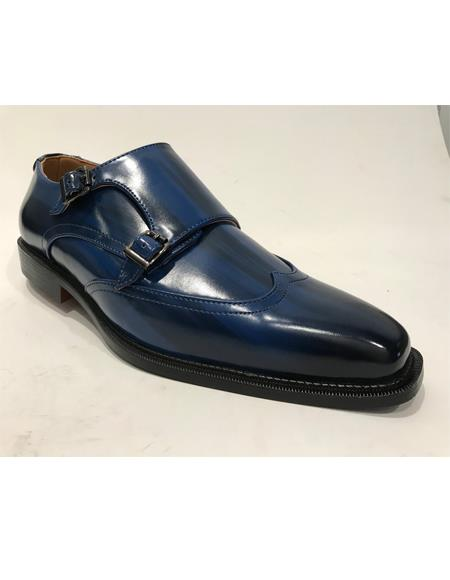 Navy Cap Toe Leather High Fashion Shoes for Mens