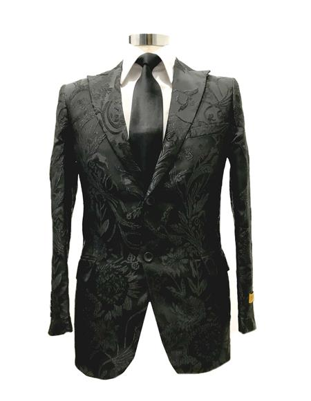 Men's Floral Satin Shiny Fashion Blazer Dinner Jacket Paisley Sport Coat Flashy Stage Fancy Party Peak Label Black