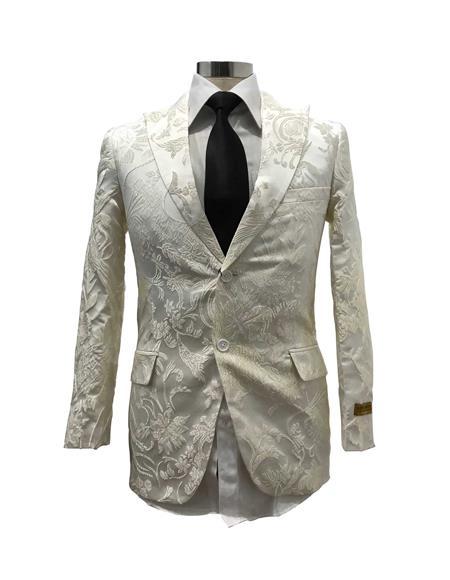 Men's Floral Satin Shiny Fashion Blazer Dinner Jacket Paisley Sport Coat Flashy Stage Fancy Party Peak Label White