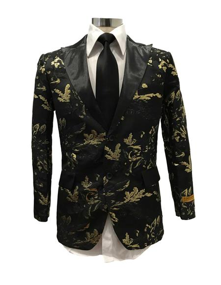 Men's Black Floral ~ paisley pattern shiny satin shawl lapel Blazer