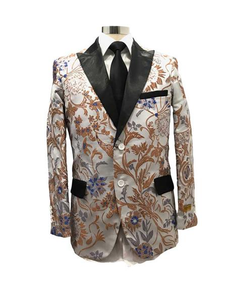 Mens Floral Satin Shiny Fashion Blazer Dinner Jacket Paisley Sport Coat Flashy Stage Fancy Party Peak Label Silver