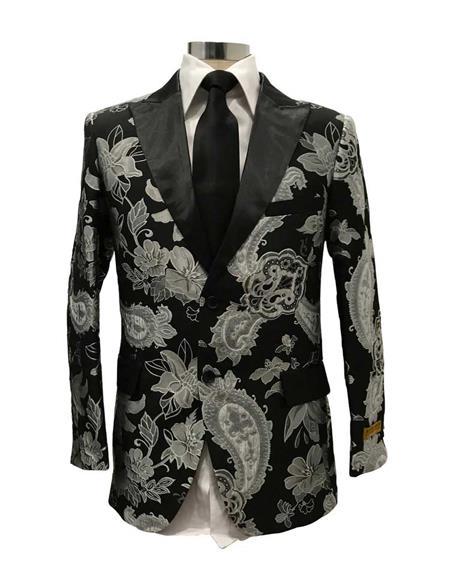 Mens Black Floral Satin Shiny Fashion Blazer Dinner Jacket