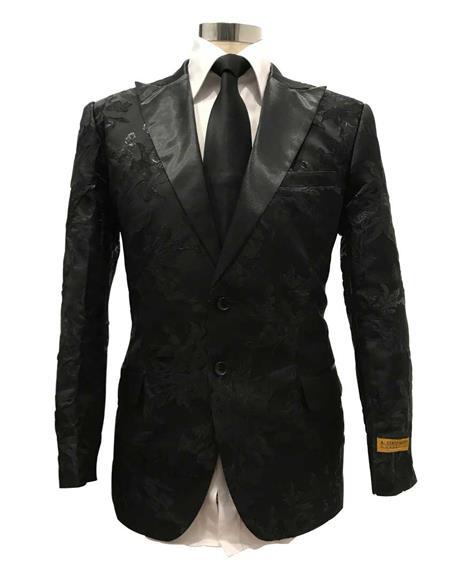 Mens Black Floral Satin Single Breasted Peak Label  Dinner Jacket