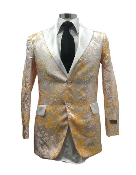 Mens Floral Satin Shiny Fashion Blazer Dinner Jacket Paisley Sport Coat Flashy Stage Fancy Party Peak Label White/Gold