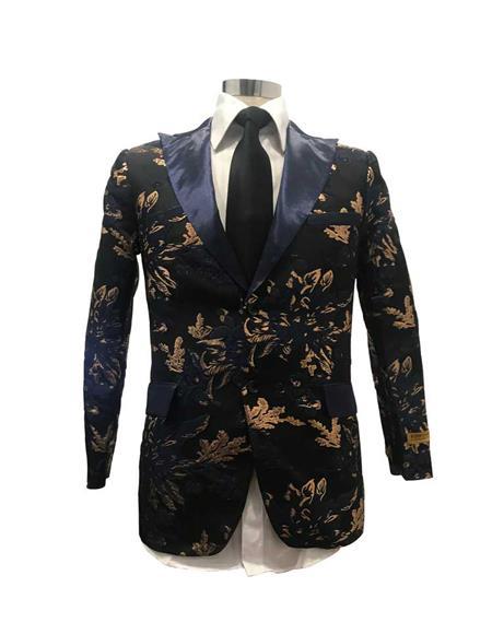 Men's Black/Gold Floral Flap Two Pockets Satin Shiny Fashion Blazer