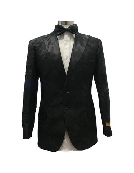 Mens Black Floral Satin Shiny Fashion Blazer Dinner Jacket