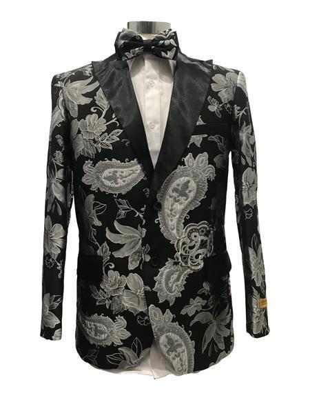 Mens Black Paisley Fancy Party Peak Label Blazer Free Matching bowtie