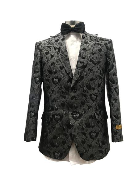 Mens Grey/Black Floral Satin Paisley Sport Coat