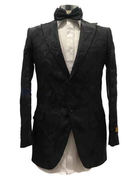 Mens Floral Satin Shiny Fashion Blazer Dinner Jacket Paisley Sport Coat Flashy Stage Fancy Party Peak Label Black