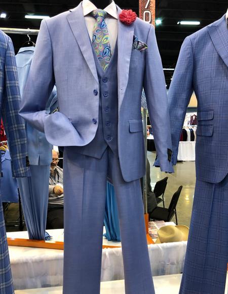 Mens Vintage Plaid ~ Windowpane Vested Suit 3 Pieces Regular Fit Light Blue