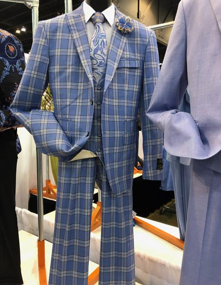 1960s Mens Suits | 70s Mens Disco Suits Mens Vintage Plaid  Windowpane Vested Suit 3 Pieces Regular Fit Blue $160.00 AT vintagedancer.com